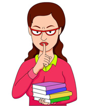 Librarian Iwth Fingers Over Lips For Quiet