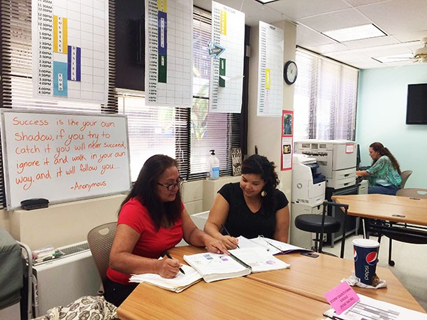 Students studying in TRIO Office: Shanette Naumu , Veronica Henderson-Davis, and Christine Natividad. Photo by TRIO student Meihui He.