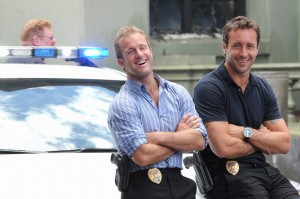 "Scott Caan, left, and Alex O'Loughlin, right, enjoy a break between scenes during the filming of the second season finale of ""Hawaii Five-0."" Photo courtesy of Norman Shapiro/CBS."