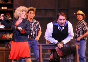 (L-R) Jessica Cruz (Doralee), Drew Tandal (Ensemble), Mike Humerickhouse (Franklin Hart) and Michael Bingham (Ensemble), take the stage in DHT's 9 to 5: The Musical - onstage now thru April 21, 2013.