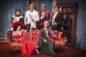 (Top L-R) Lisa Barnes (Jane), Garrett Hols (Charles Pomeroy), Jeffrey Terry Sousa (Major Quimby), Kevin Keaveney (Devon Tremaine), (Bottom L-R) Therese Olival (Emma Reese), Stacy Ray (Lady Somerset) perform in MVT's Bloody Murder.