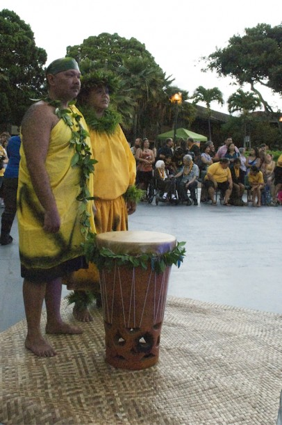 Nawa'a Napoleon, with Lehua Gaison, chanted at the blessing of the Hawaiian star compass in front of 'Ohi'a. Sept. 2012.