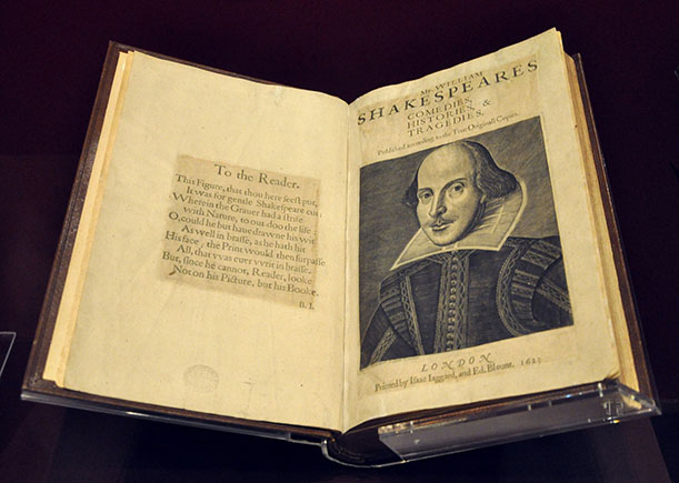 Shakespeare's First Folio, one of the rarest and most valuable publications in the world.