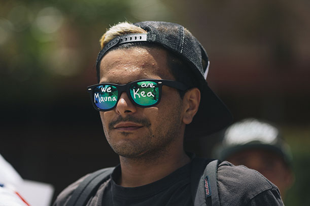 HONOLULU, HAWAII - APRIL 13:  Hiapo Armstrong-Kanekoa is seen during a protest of the Thirty Meter Telescope in front of the Great Lawn at Kapiolani Community College on April 13, 2015 in Honolulu, Hawaii.