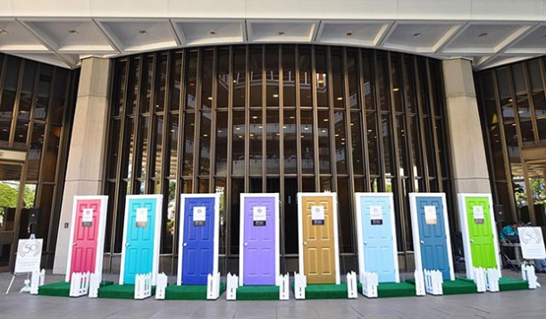 Eight brightly colored doors representing the way  UH community colleges welcome students from different backgrounds. Photo: honoluluccblog.com